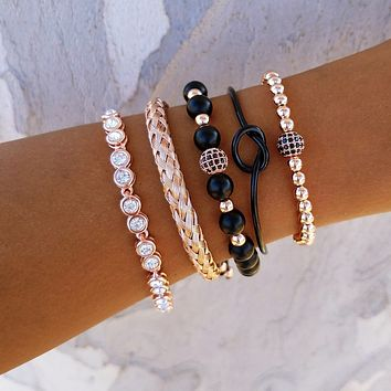 Disco Ball Knot Bracelet Stack