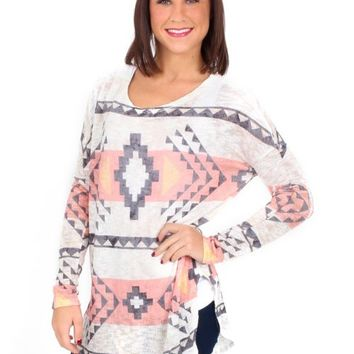 Early Winter Gray And Coral Aztec Knit Tunic | Monday Dress Boutique