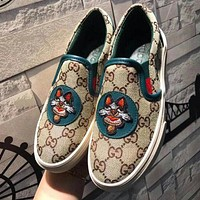 GUCCI Trending Women Leisure Dog Embroidery Flat Single Shoes Fisherman Shoes Green
