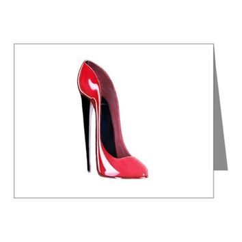 BLACK HEEL RED STILETTO SHOE NOTE CARDS (PK OF 10)