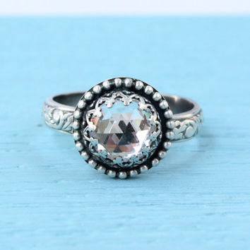 Sterling silver ring with clear Swarovski crystal, 3rd or 15th wedding anniversary gift, vintage floral band, engagement, promise ring