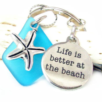 Starfish and Beach Quote Keychain