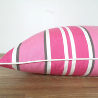 Hot pink dog bed cover 25x36, pink floor cushion, medium dog bed duvet cover, stripe floor pillow piping, modern pet mats, pink and brown