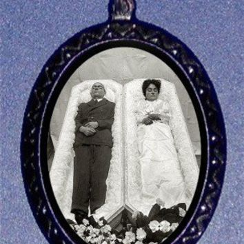 Very Strange Postmortem Couple in Two Coffin Victorian Till Death Do We Part Necklace
