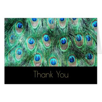 Peacock Feathers Exotic Wild Watercolor Thank You Card