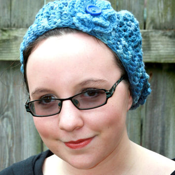 Slouchie hat, slouchy beret, blue ladies hat, Ready To Ship