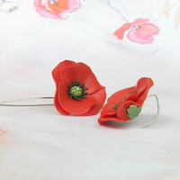 Polymer clay poppies - polymer clay jewelry - dangle earrings - floral jewelry - floral earrings