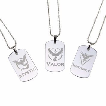 New Pokemon Go Dog Tag Necklace Game Anime Team Valor Mystic Instinct Logo Bead Chain for Women and Men fans