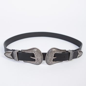 Skinny Double Buckled Western Belt