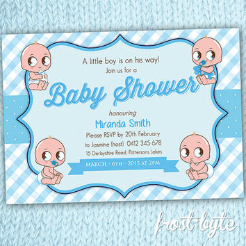 Baby Boy Baby Shower Invitation - personalized print at home digital file - digital file customised for you - pastel blue