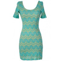 Lily Boutique Summer Nights Floral and Chevron Bodycon Dress in Aqua - DRESSES Lily Boutique