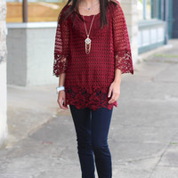 Lace Overlay Tunic {Wine}