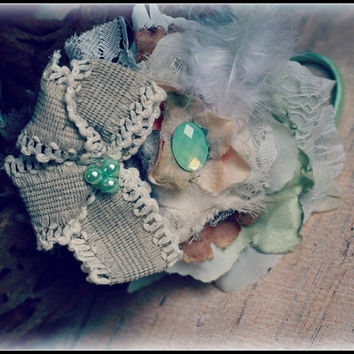MINT HEADBAND, Well dressed wolf, m2m, magnolia, burlap, lace, pacific opal, matilda jane, boutique, shabby headband, baby girl, toddler