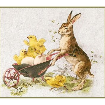 Vintage Easter Bunny with Baby Chicks in a Wheelbarrow Counted Cross Stitch Pattern