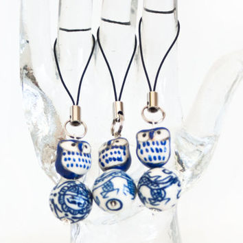 Ceramic Cobalt Blue Owl on a Ball Cell Phone Charm Strap Keychain, Asian Style Kawaii Phone Accessories