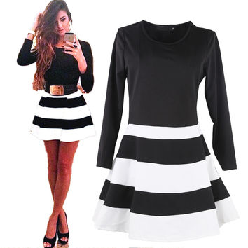 Fit And Falre Dress Women Striped Skater Mini Dresses Round Neck Minidress Girls Three Quarter Sleeve Contrast Color Black White
