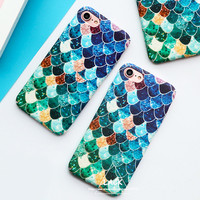 Lovely Blue Mermaid Fish Scale Case For iphone 6 Case For iphone 6S 7 7 Plus Phone Cases Hard PC Protective Back Cover Coque NEW -0316