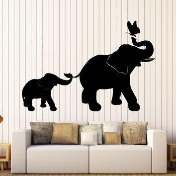 Wall Vinyl Decal Elephant Family Kids Children Butterfly Nursery Home Decor Unique Gift z4062