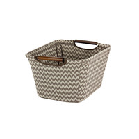 Small Tapered Storage Bin with Wood Handles, Brown chevron