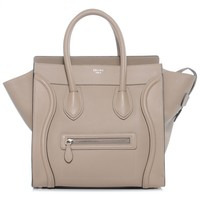 CELINE Drummed Leather Mini Luggage Bag Dune