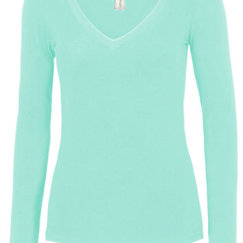 LE3NO Womens Lightweight Fitted Long Sleeve V Neck Cotton Shirt with Stretch