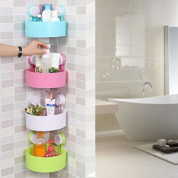 Space Corner Sucker Shelf Bathroom Kitchen Storage Holder Rack Vacuum Chuck Toilet Corner Storage Rack 4 Colors FULI