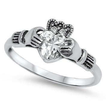 Choose Color Irish Claddagh Promise Ring Rhodium Plated Heart Claddagh Promise Ring with Crown CZ