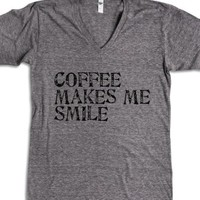 Coffee Makes Me Smile-Unisex Athletic Grey T-Shirt