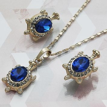 Gold Layered Women Turtle Necklace and Earring, with Sapphire Blue Crystal, by Folks Jewelry