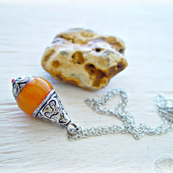Tibetan Amber Necklace - Amber Pendant -  Amber Jewelry - Tibetan Necklace - Tibetan Jewelry - Ethnic Necklace - Yoga Necklace
