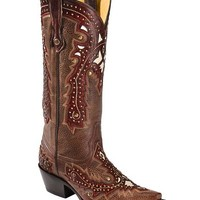 Corral Brown Studded Overlay Cowgirl Boots - Snip Toe - Sheplers