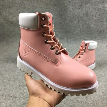 Timberland Rhubarb Boots White Pink For Women Men Shoes Waterproof Martin Boots