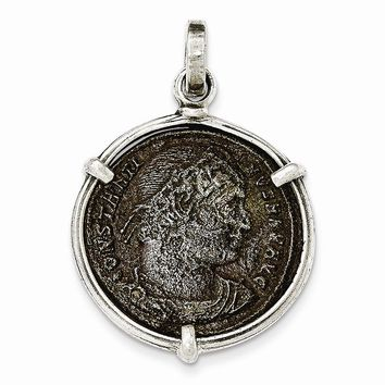 Sterling Silver Antiqued Roman Bronze Constantine I Coin Pendant