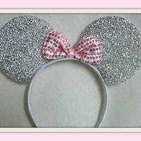 Minnie Mouse Ears Headband Silver Sparkle Shimmer light pink Sequin Bow Mickey NEW Elite Collection