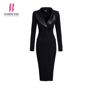 Solid Pencil Dress Long Sleeve Office Autumn Winter Black Bodycon Dresses Women Midi V Neck Leather Patchwork Work Dress