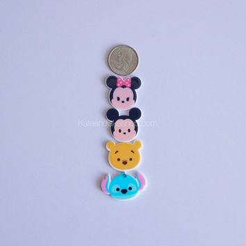 SALE Set of 4 Flat Tsum Tsum Resins for DIY bows hairpins necklace charms crafts fast USA shipping