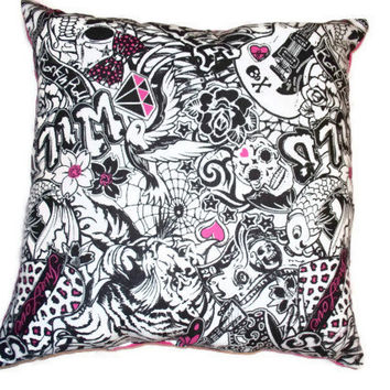 Handmade throw pillow set of 2 cotton pink white and black tattoo skull punk princess with pink back punk teen pirate emo rock star rockab