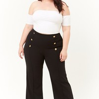 Plus Size Double-Breasted Palazzo Pants