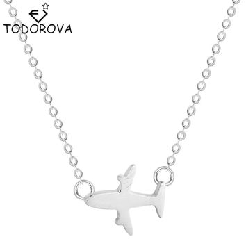Todorova 925 Sterling Silver S925 Silver Collar Plane Aircraft Pendant Necklace Airplane Fashion Jewelry Chain New