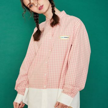 [LUV IS TRUE] (UNISEX)SD CHECK SHIRT (PINK)