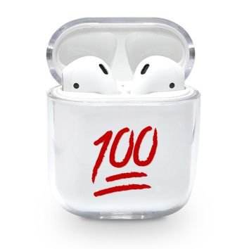 Red Keep it 100 Emoji Airpods Case