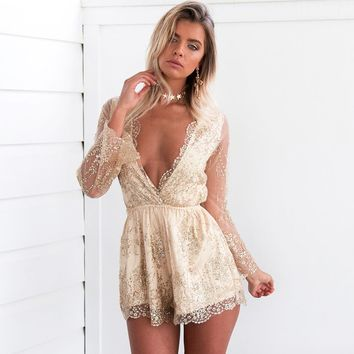 Women Fashion Perspective Sequin Long Sleeve Deep V-Neck Romper Jumpsuit Shorts
