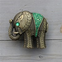 Drawer Knobs Elephant with Green Crystals in antique brass.