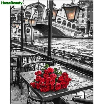 Home Beauty DIY oil painting by numbers wall canvas picture coloring paint by number brush drawing rose hand painted craft