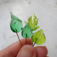 Lampwork Headpins, Lampwork Headpin Set, Lampwork Green Leaf Beads, Handmade Supplies for Lampwork Jewelry