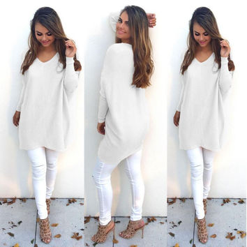 White Long Sleeve Knitted Long Sweatshirt