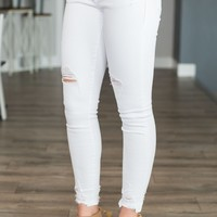 Dear John Joyrich Skinny-  Distressed Optic White
