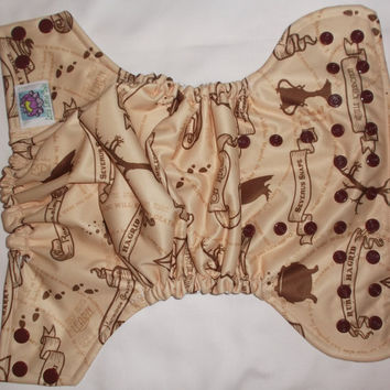Harry Potter Wandering Feet Marauders Map Semi Custom Cloth Diaper Pocket or Cover Little Lotus Buds One Size
