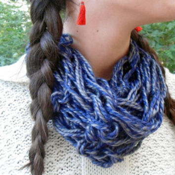 Arm Knit Scarf Circle Scarf Soft Warm Scarf Infinity Cowl Blue Grey Scarf Loop Scarf Gift for Women Neck Warmer Winter Accessory Fashion