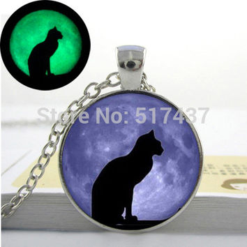 Glowing cat moon cabochon,Blue purple Moon Glow in the DARK Necklace Pendant